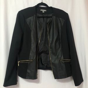 Roz & Ali Black Faux Leather Zip Up Blazer Jacket